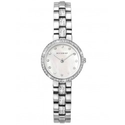 Accurist Ladies Classic Mother Of Pearl Dial Stainless Steel Stone Set Bracelet Watch 8308