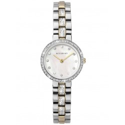 Accurist Ladies Classic Two Colour Mother Of Pearl Stone Set Bracelet Watch 8309