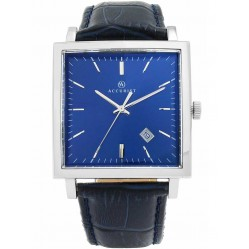 Accurist Mens Navy Blue Square Leather Strap Watch 7040