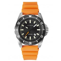 Accurist Mens Divers Style Black Date Dial Orange Rubber Strap Watch 7306