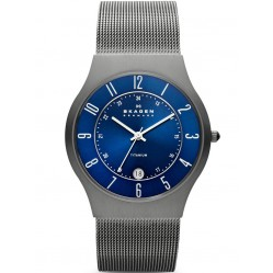 Skagen Titanium Mesh Round Blue Dial with Date Watch 233XLTTN
