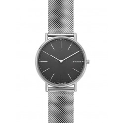 Skagen Mens Signatur Black Dial Titanium And Steel Mesh Strap Watch SKW6483