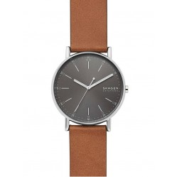 Skagen Mens Signatur Stainless Steel Dark Grey Dial Brown Leather Strap Watch SKW6578