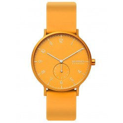Skagen Mens Aaren Kulor Stainless Steel Yellow Dial Rubber Strap Watch SKW6510