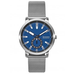 Skagen Mens Colden Stainless Steel Blue Dial Mesh Strap Watch SKW6610