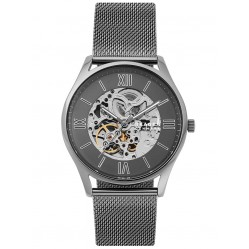 Skagen Mens Holst Automatic Grey Skeleton Dial Gunmetal Mesh Strap Watch SKW6614