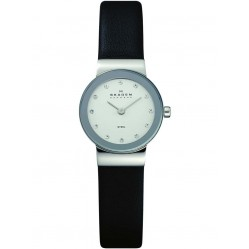 Skagen Ladies Stone Set Black Strap Watch 358XSSLBC