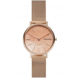 Skagen Ladies Signatur Slim Rose Tone Steel Mesh Strap Watch SKW2732