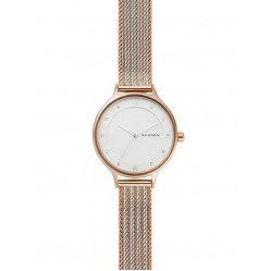 Skagen Ladies Anita Stainless Steel White Dial Rose Gold Plated Mesh Strap Watch SKW2749