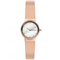 Skagen Ladies Freja Rose Gold Plated Pink Leather Strap Watch and Bracelet Set SKW1113