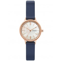 Skagen Ladies Anita Rose Gold Plated Mother Of Pearl Dial Blue Leather Strap Watch SKW2864