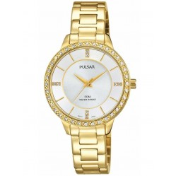 Pulsar Ladies Gold Plated Stone Set Bracelet Watch PH8218X1