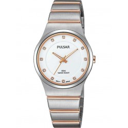 Pulsar Ladies Two Tone Stone Set Bracelet Watch PH8173X1