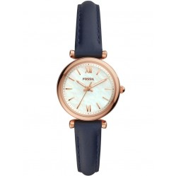 Fossil Ladies Carlie Rose Gold Plated Mother Of Pearl Dial Navy Blue Leather Strap Watch ES4502