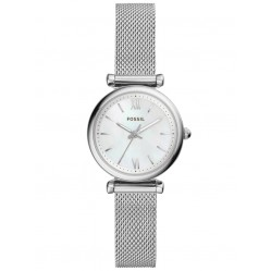 Fossil Ladies Carlie Mini Stainless Steel Mother Of Pearl Dial Mesh Strap Watch ES4432