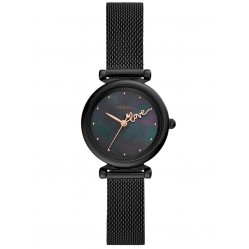 Fossil Ladies Carlie Mini Black Mother Of Pearl Dial Mesh Strap Watch ES4829