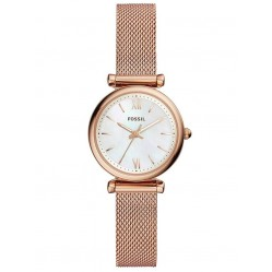 Fossil Ladies Carlie Rose Gold Plated Mother Of Pearl Dial Mesh Strap Watch ES4433