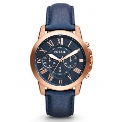 Fossil Grant Chronograph Navy Leather Strap Watch FS4835