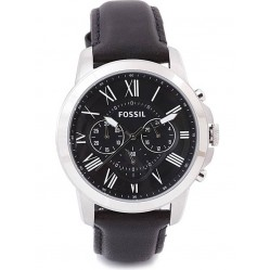 Fossil Grant Chronograph Black Leather Strap Watch FS48121E