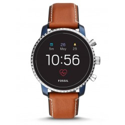 Fossil Mens Gen 4 Explorist HR Tan Leather Strap Smartwatch FTW4016