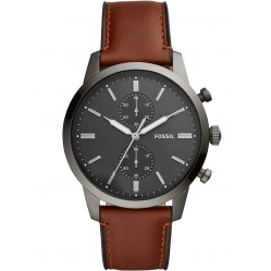Fossil Mens Townsman Chronograph Amber Leather Strap Watch FS5522