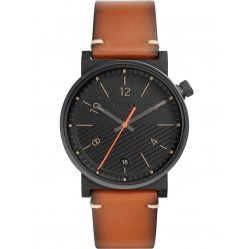 Fossil Mens Barstow Stainless Steel Black Dial Brown Leather Strap Watch FS5507