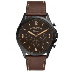 Fossil Mens Forest Stainless Steel Brown Chronograph Dial Leather Strap Watch FS5608