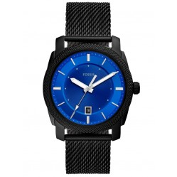 Fossil Mens Machine Stainless Steel Blue Date Dial Black Mesh Strap Watch FS5694