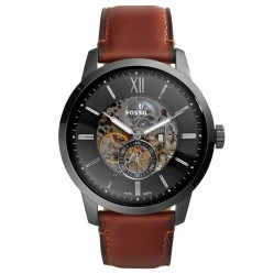 Fossil Mens Townsman Automatic Stainless Steel Grey Skeleton Dial Brown Leather Strap Watch ME3181