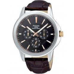 Pulsar Mens Stainless Steel Black Dial Brown Strap Watch PP6019X1