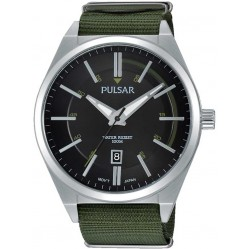 Pulsar Mens Green Fabric Watch PS9357X1