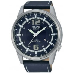 Pulsar Mens Solar Powered Blue Strap Watch PX3083X1