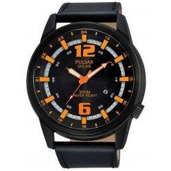 Pulsar Mens Solar Powered Black Strap Watch PX3081X1