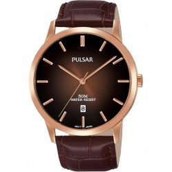 Pulsar Mens Rose Gold Plated Brown Dress Watch PS9534X1