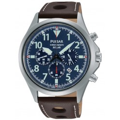 Pulsar Mens Brown Leather Watch PX5029X1