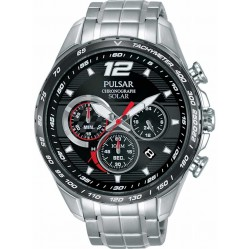 Pulsar Mens Solar Black Red Accelerator Watch PZ5019X1