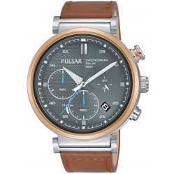 Pulsar Mens Stainless Steel Solar Grey Chronograph Dial Brown Leather Strap Watch PZ5070