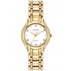 Citizen Ladies Silhouette Diamond Gold Tone Bracelet Watch EM0282-56A