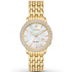 Citizen Ladies Diamond Gold Tone Mesh Bracelet Watch EW2282-52D