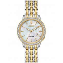 Citizen Ladies Diamond Bezel Two Tone Bracelet Watch EW2284-57D