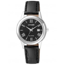 Citizen Ladies Corso Black Leather Strap Watch FE1081-08E