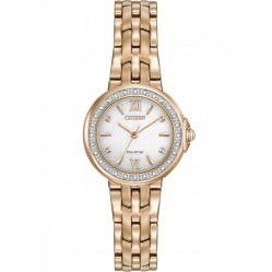 Citizen Ladies Diamond Rose Gold Plated Bracelet Watch EM0443-59A