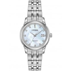 Citizen Ladies Eco-Drive Mother Of Pearl Diamond Bracelet Watch EW2390-50D
