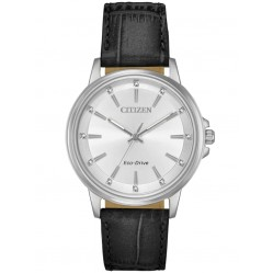 Citizen Ladies Chandler Black Leather Strap Watch FE7030-14A