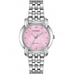 Citizen Ladies Jolie Diamond Pink Dial Bracelet Watch EM0710-54Y