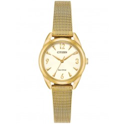 Citizen Ladies LTR Gold Tone Mesh Bracelet Watch EM0682-58P