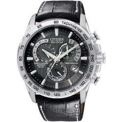 Citizen Mens PCAT Sapphire Black Leather Strap Watch AT4000-02E