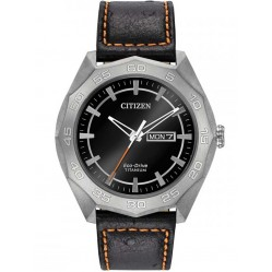 Citizen Mens Brycen Super Titanium Leather Strap Watch AW0060-03E