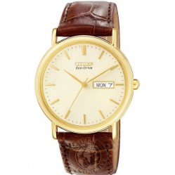 Citizen Mens Gold Plated Brown Strap Watch BM8242-08P