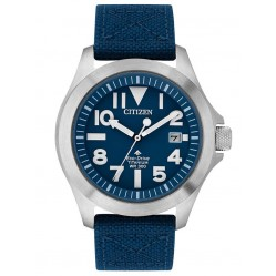 Citizen Mens Eco Drive Titanium Date Blue Strap Watch BN0118-12L